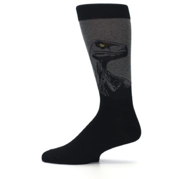 Image of Grey Black Raptor Dinosaur XL Men's Dress Socks (side-2-12)