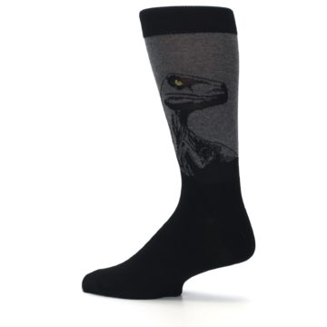 Image of Grey Black Raptor Dinosaur XL Men's Dress Socks (side-2-13)