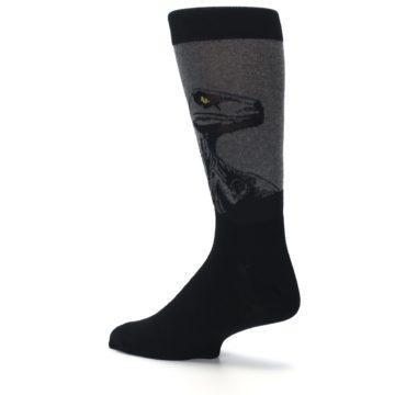 Image of Grey Black Raptor Dinosaur XL Men's Dress Socks (side-2-back-14)