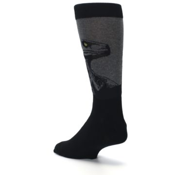 Image of Grey Black Raptor Dinosaur XL Men's Dress Socks (side-2-back-15)