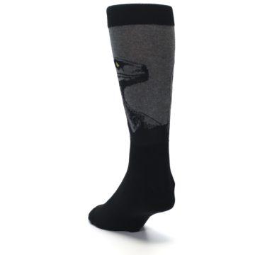 Image of Grey Black Raptor Dinosaur XL Men's Dress Socks (side-2-back-16)