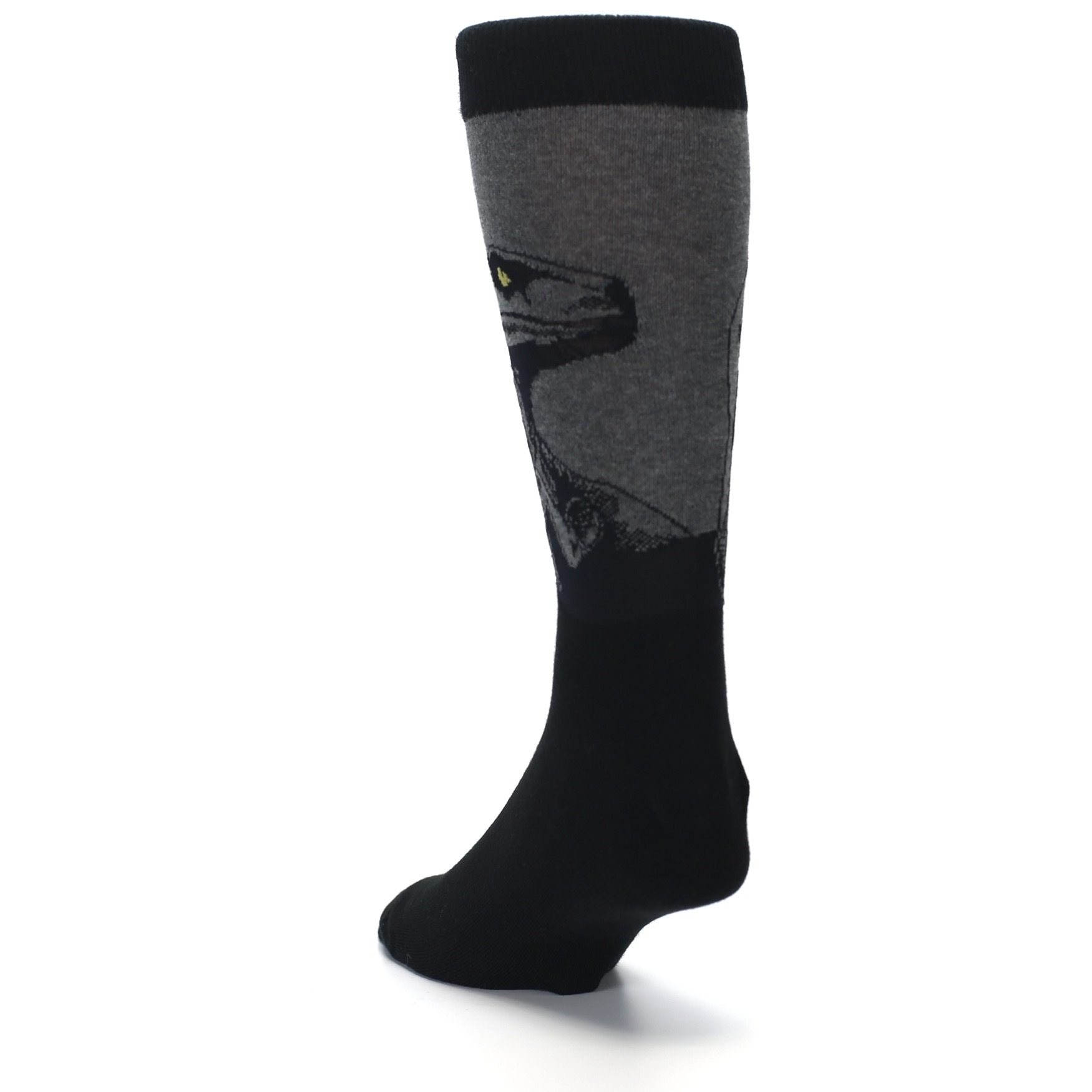 39c58b053ac Image of Grey Black Raptor Dinosaur XL Men s Dress Socks (side-2-back