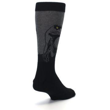 Image of Grey Black Raptor Dinosaur XL Men's Dress Socks (side-1-back-21)