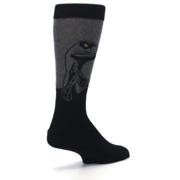 Image of Grey Black Raptor Dinosaur XL Men's Dress Socks (side-1-back-22)