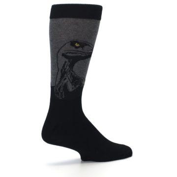 Image of Grey Black Raptor Dinosaur XL Men's Dress Socks (side-1-23)