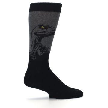 Image of Grey Black Raptor Dinosaur XL Men's Dress Socks (side-1-24)