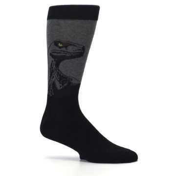 Image of Grey Black Raptor Dinosaur XL Men's Dress Socks (side-1-25)