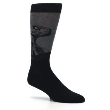 Image of Grey Black Raptor Dinosaur XL Men's Dress Socks (side-1-26)