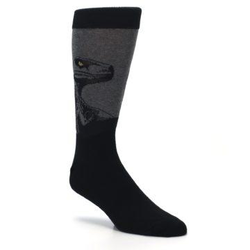 Image of Grey Black Raptor Dinosaur XL Men's Dress Socks (side-1-27)