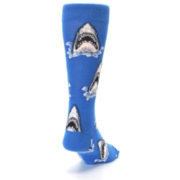 Image of Blue Shark Attack XL Men's Dress Socks (side-1-back-20)