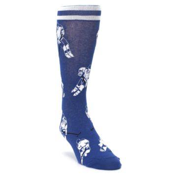 Image of Blue White Hockey Men's Dress Sock (side-1-front-02)