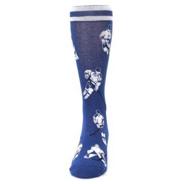 Image of Blue White Hockey Men's Dress Sock (front-05)