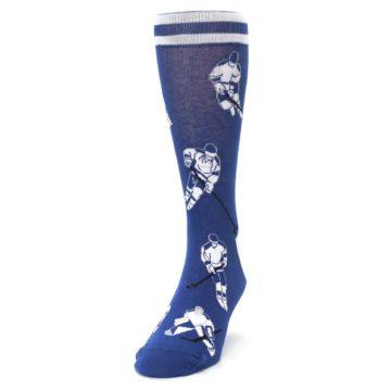 Image of Blue White Hockey Men's Dress Sock (side-2-front-06)
