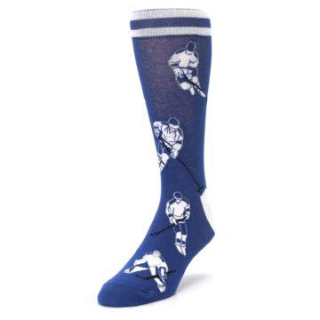 Image of Blue White Hockey Men's Dress Sock (side-2-front-07)