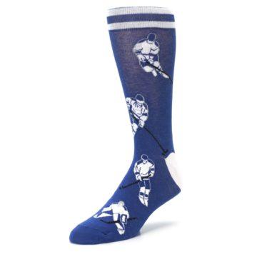 Image of Blue White Hockey Men's Dress Sock (side-2-front-08)