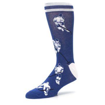 Image of Blue White Hockey Men's Dress Sock (side-2-09)