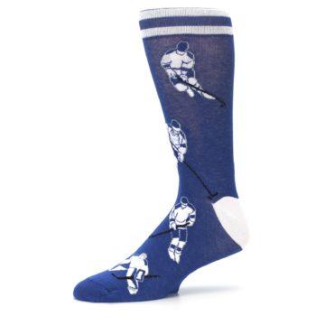Image of Blue White Hockey Men's Dress Sock (side-2-10)