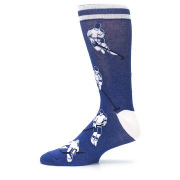 Image of Blue White Hockey Men's Dress Sock (side-2-11)