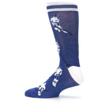 Image of Blue White Hockey Men's Dress Sock (side-2-12)