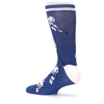 Image of Blue White Hockey Men's Dress Sock (side-2-13)