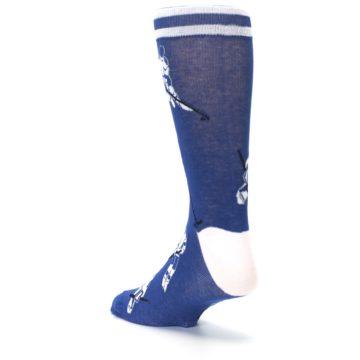 Image of Blue White Hockey Men's Dress Sock (side-2-back-15)