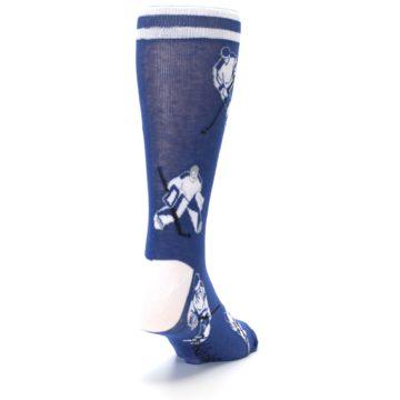 Image of Blue White Hockey Men's Dress Sock (side-1-back-20)