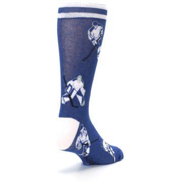Image of Blue White Hockey Men's Dress Sock (side-1-back-21)