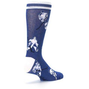 Image of Blue White Hockey Men's Dress Sock (side-1-back-22)