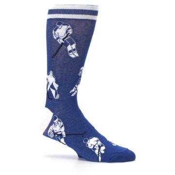 Image of Blue White Hockey Men's Dress Sock (side-1-25)