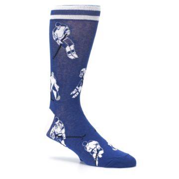 Image of Blue White Hockey Men's Dress Sock (side-1-26)