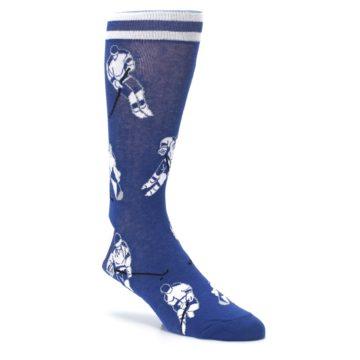 Image of Blue White Hockey Men's Dress Sock (side-1-27)