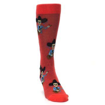 Image of Red Mariachi Skeleton Men's Dress Sock (side-1-front-03)