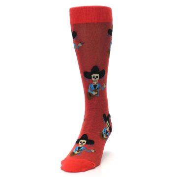 Image of Red Mariachi Skeleton Men's Dress Sock (side-2-front-06)