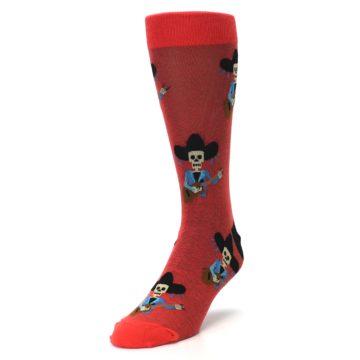 Image of Red Mariachi Skeleton Men's Dress Sock (side-2-front-07)