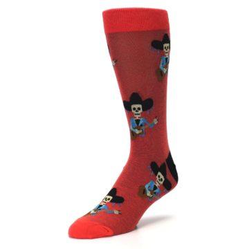 Image of Red Mariachi Skeleton Men's Dress Sock (side-2-front-08)