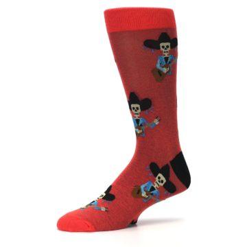 Image of Red Mariachi Skeleton Men's Dress Sock (side-2-10)