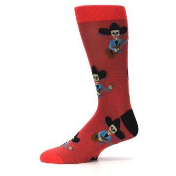 Image of Red Mariachi Skeleton Men's Dress Sock (side-2-11)
