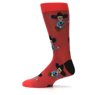 Image of Red Mariachi Skeleton Men's Dress Sock (side-2-12)