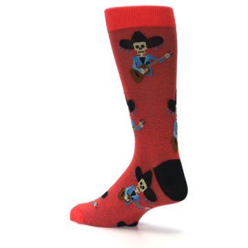 Image of Red Mariachi Skeleton Men's Dress Sock (side-2-back-14)