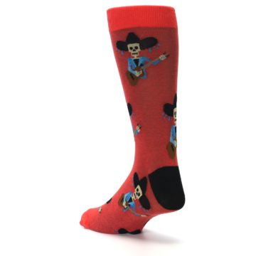 Image of Red Mariachi Skeleton Men's Dress Sock (side-2-back-15)