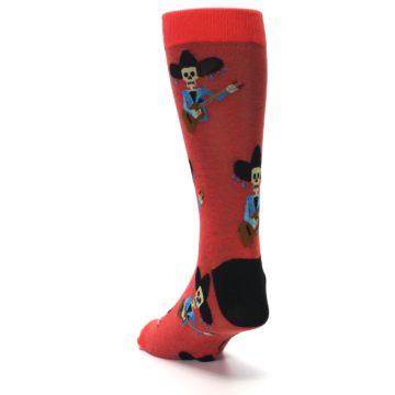 Image of Red Mariachi Skeleton Men's Dress Sock (side-2-back-16)
