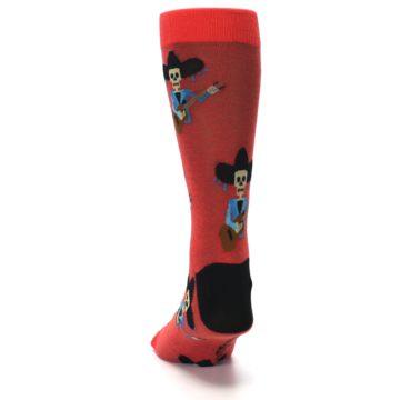 Image of Red Mariachi Skeleton Men's Dress Sock (back-17)