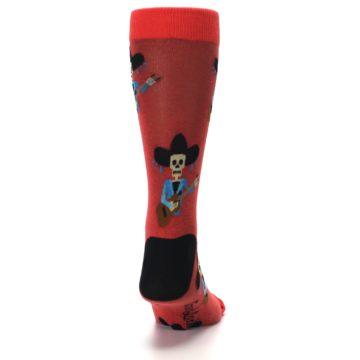 Image of Red Mariachi Skeleton Men's Dress Sock (back-19)