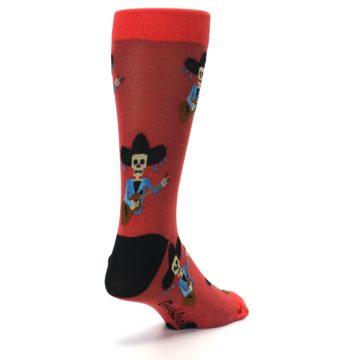 Image of Red Mariachi Skeleton Men's Dress Sock (side-1-back-21)