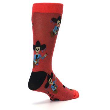 Image of Red Mariachi Skeleton Men's Dress Sock (side-1-back-22)