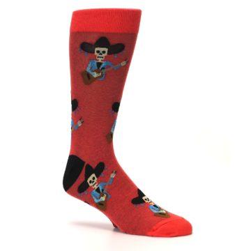 Image of Red Mariachi Skeleton Men's Dress Sock (side-1-26)