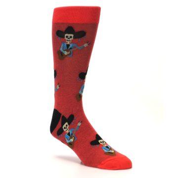 Image of Red Mariachi Skeleton Men's Dress Sock (side-1-27)