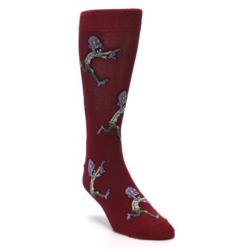 Image of Burgundy Zombies Men's Dress Sock (side-1-front-02)