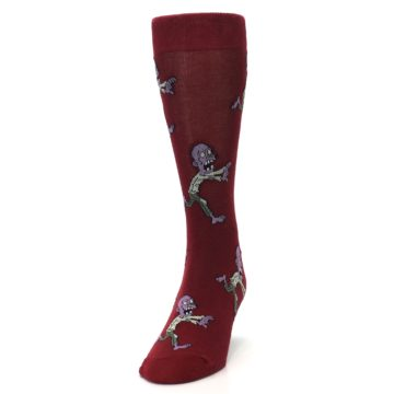 Image of Burgundy Zombies Men's Dress Sock (side-2-front-06)