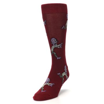 Image of Burgundy Zombies Men's Dress Sock (side-2-front-07)